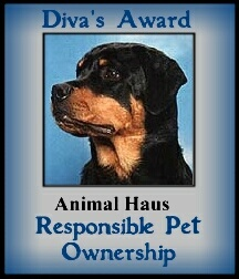 Thank you Diva for the Responsable Pet Ownership award!